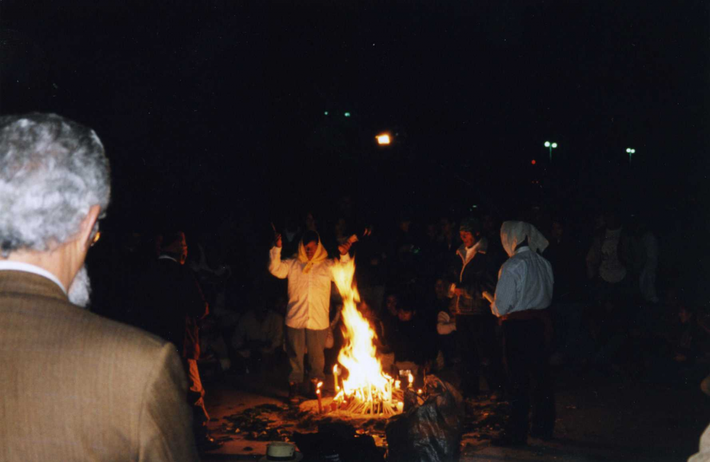 Enrique Dussel at Maya Fire Ceremenony, 2001 Liberation Psychology Congress, Guatemala City: an accidental photo.
